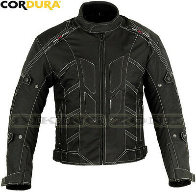 White Stitch Style Mens Ce Armour Motorbike Motorcycle Motocross Textile Jacket