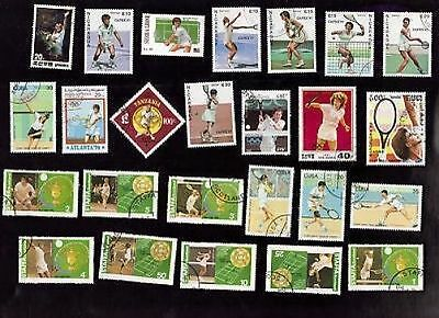 25 All Different Tennis On Stamps
