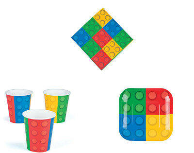 Lego Building Block Party Tableware Set for 8 Kids -  Small Plates
