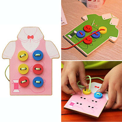 Kids Child Threading Button Beads Lacing Board Montessori Educational Wooden Toy
