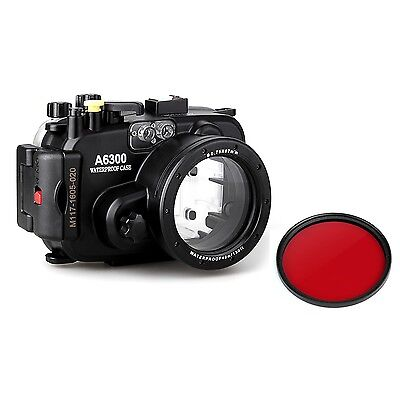 A6300 16-50mm 40m/130ft Waterproof Underwater Camera Housing Case + Red Filter