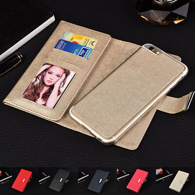 Luxury Leather Magnetic Detachable Wallet Card Case Cover For iPhone 6 6S Plus