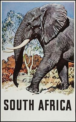 Vintage South Africa Elephant Tourism Poster  A3 Print