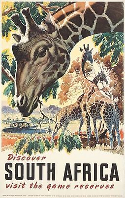 Vintage South Africa Giraffe Tourism Poster  A3 Print