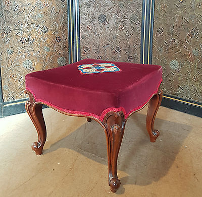 Original Victorian Large Rosewood Footstool By Wylie And Lochhead Of Glasgow