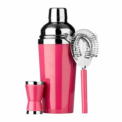 Cocktail Set, Hot Pink/Stainless Steel, Shaker/Strainer/Measuring Cup