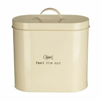 Adore Pets Feed The Cat Food Storage Bin W/spoon, Galvanised Steel, 2.8 Litre