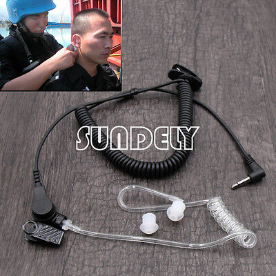 Listen Receive Only Acoustic Tube Covert FBI Earpiece Headset 3.5mm Jack Icom