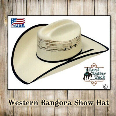 RANGER COMPANY WESTERN SHOW HAT ~ OFF WHITE WITH BLACK TRIM ~ SIZE 6.7/8 (55cm)
