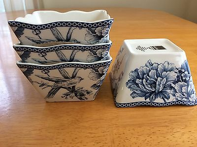 Adelaide Blue Square Dessert Bowls. Set Of 4. 222 Fifth. Beautiful New
