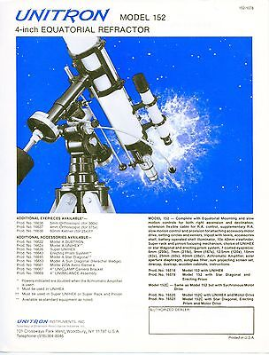 "Vintage TELESCOPE Sales Sheet: ""UNITRON"" Model 152"
