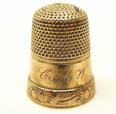Antique 14K Solid Gold Thimble Ornate Scroll Pattern Dates 1862 Victorian Sewing