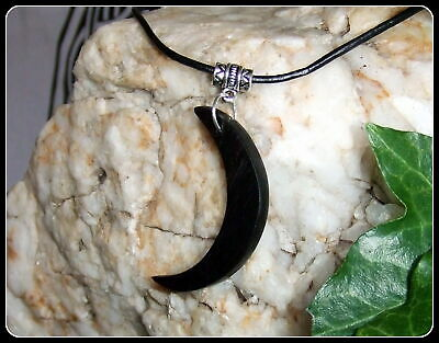 Crescent Moon design Necklace Pendant handcrafted from Ebony wood in gift box