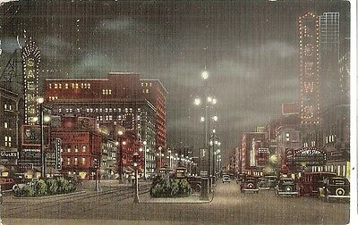 1938 Canal Street at Night New Orleans LA Postcard E.C.Kropp Milwaukee WI