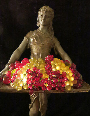 Antique Spelter Lady fruit tray lamp Beaded Czech glass Figurine Vintage French