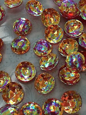 Cabochon Sequins Cup / Dome 10mm Fire Opal Red Gold x 30
