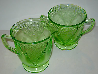 Georgian Love Birds Green Cream and Sugar Federal Glass Depression