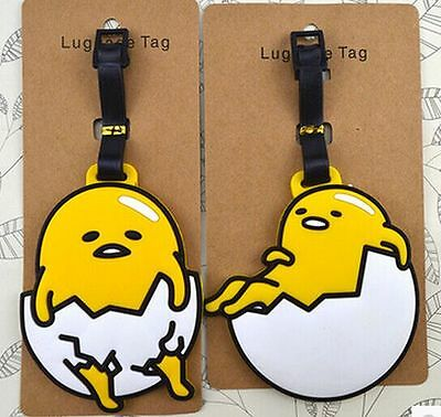 2 Styles New Gudetama Luggage Tags Travel Suitcase Baggage Card Holder Name Bags