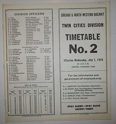 Chicago & North Western Railway 1970 Employee Timetable  -  Twin Cities Division