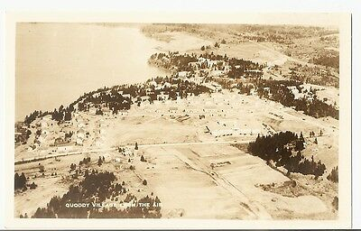 1936 Aerial view of QUODDY Village Eastport ME from the Air Real Photo Postcard