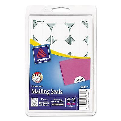 Avery - Print or Write Mailing Seals 1in dia White 600 per Pack - AVE05247 (New)
