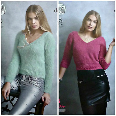 KNITTING PATTERN Ladies Easy Knit 3/4 Sleeve V-Neck Jumper DK 4594