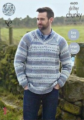 Mens KNITTING PATTERN Easy Knit Long Sleeve V-Neck Round Neck Jumper Chunky 4600