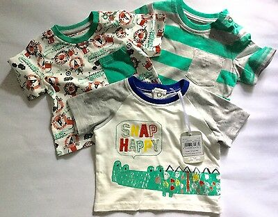 Baby Boys 3 pack T Shirts with Snap Happy Cocodile & Lion detail