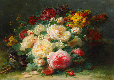 Dutch Painting Floral Chic Shabby Roses French Country Fine Art Canvas Print