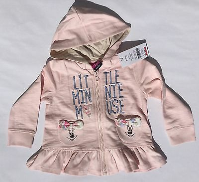 Girls Pink Hooded Zip up Top with Disney at George Minnie Mouse detail