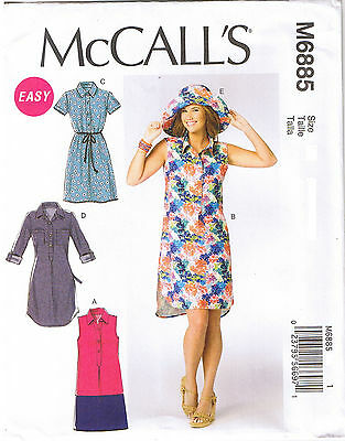 Easy Shirt Dress Collar Wide Brim Sun Hat McCalls Sewing Pattern 8 10 12 14 16