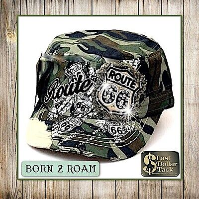 Camo Cadet Style Cap ~ Embroidered 'route 66' Appliqué With Crystals