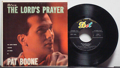 """PAT BOONE """"The Lord's Prayer"""" RARE EXC 1958 1ST PRESS DOT MONO 4-SONG EP 45rpm"""