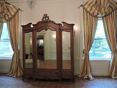 Exquisite Antique French Rococo Triple Oak Armoire with Mirrors