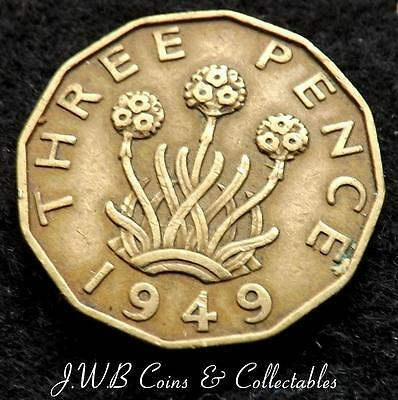 1949 George VI Brass 3d Threepence Coin - Scarce Date - Great Britain