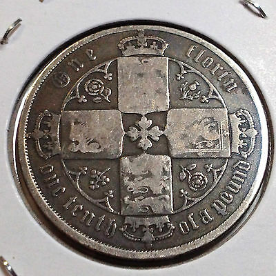 Great Britain 1872 Silver Gothic Florin  Coin Better Grade