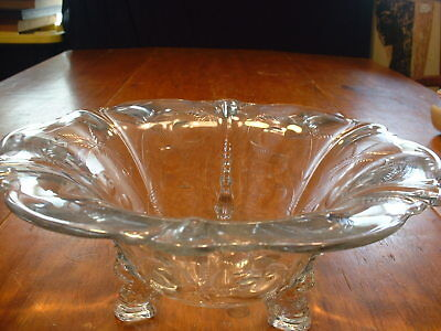"""Large Vintage Heisey Console Bowl In Cut """" Everglade """" Pattern W/Dolphin Feet"""