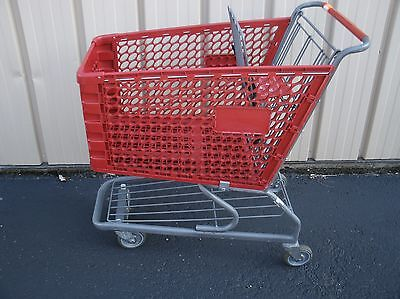 (Versacart) Dark Red Medium Used Plastic Shopping Grocery Carts