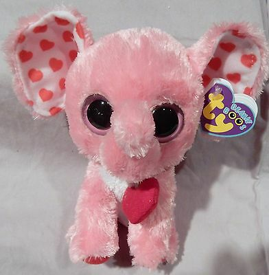 "TENDER the Valentine Elephant - Ty 6.5"" Retired Beanie Boo - NEW w/PURPLE TAG"