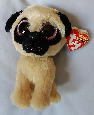 "PUGSLY the PUG - Sparkle Glitter Eyes - Ty 6 "" Beanie Boo - NEW w/RED  MINT TAG"