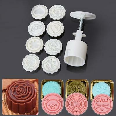 50g Round Baking Mooncake DIY Mold Pastry Biscuit Cake Mould Cartoon 8 Stamps