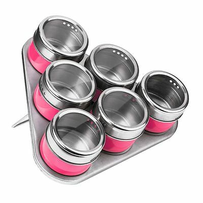 Set of 6 Spice Jars, Hot Pink/Stainless Steel, Magnetic Triangular Tray