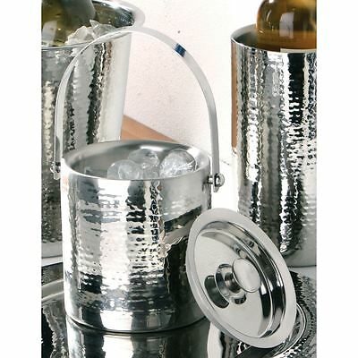 Ice Bucket Stainless Steel Hammered Effect With Lid