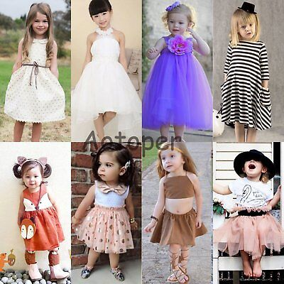 Toddler Kids Baby Girls Flower Dress Princess Party Wedding Pageant Tutu Dresses