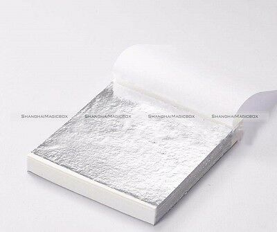 100 Sheets Silver Leaf Leaves Foil Paper For Gilding Art Craft Decor 14x14cm