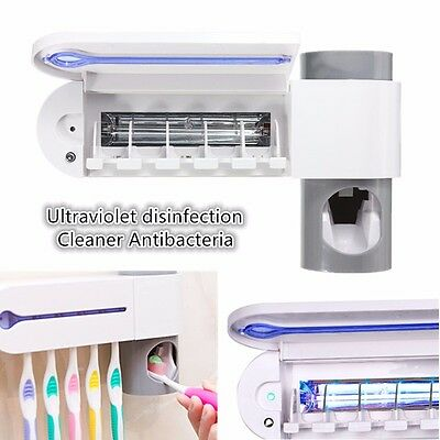Automatic Toothpaste Dispenser + 5 Toothbrush Holder Stand Set Wall Mount Rack