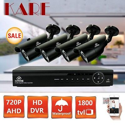 P2P 720P AHD HDMI Security DVR Outdoor CCTV Camera System Kit Motion Detection