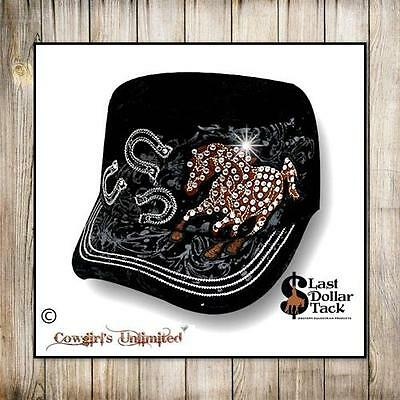 Military Style Cap ~ Embroidered Mustang Horse ~ Crystal Embellishments ~ Black