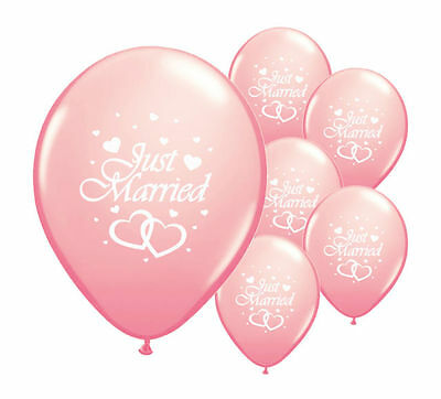 """10 Just Married Light Pink 12"""" Helium Quality Pearlised Wedding Balloons (Pa)"""