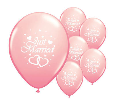 """8 Just Married Light Pink 12"""" Helium Quality Pearlised Wedding Balloons (Pa)"""